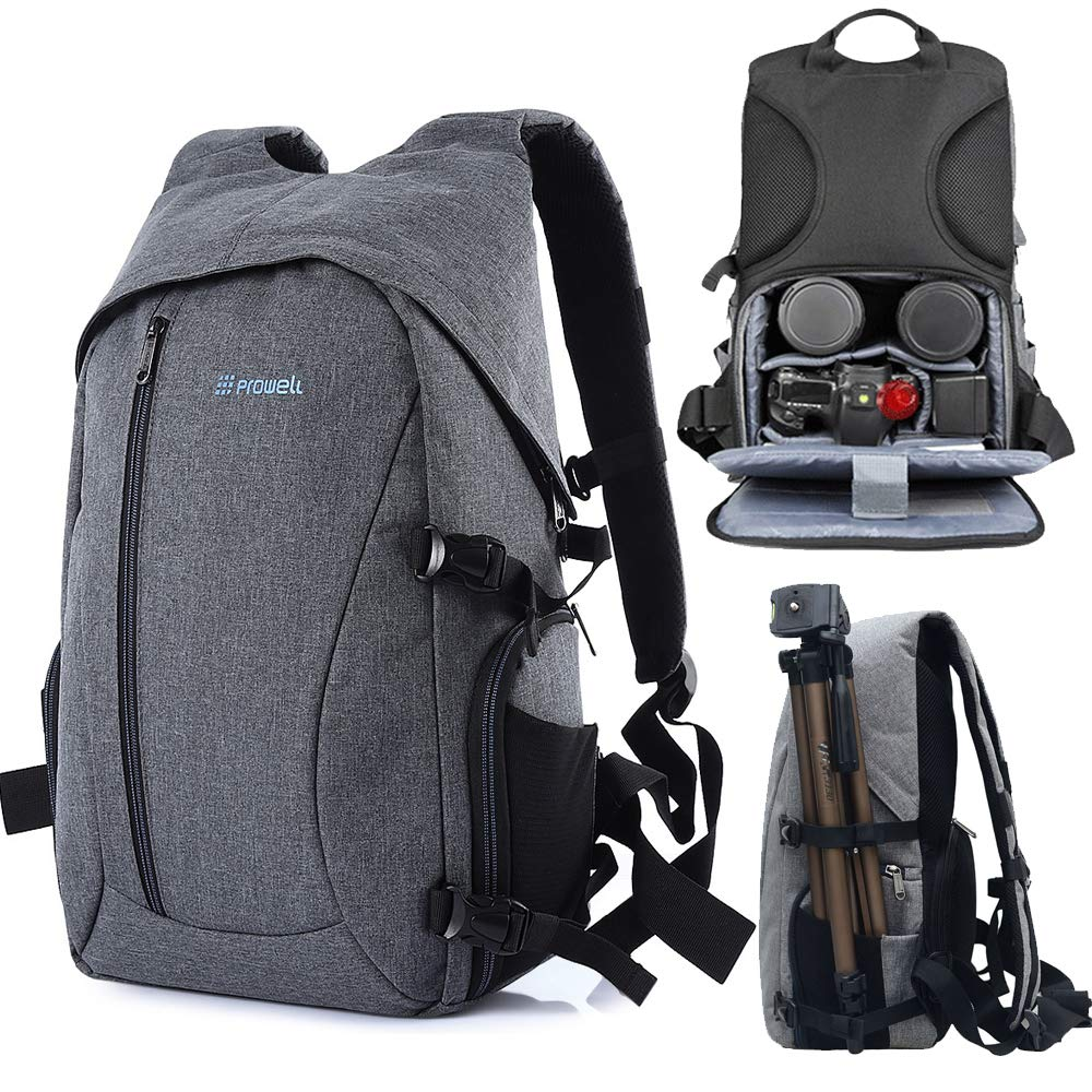 Photographer Backpack DSLR Camera Backpack with Rain Cover Multi-Pocket Large Capacity Waterproof Anti-Theft Tripod Holder for Outdoor Travel Daily Use (Grey) by Abewoo
