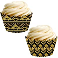 Andaz Press Party Cupcake Wrapper Decorations, Art Deco Black and Gold, 24-Pack, Theme Colored Bulk Cake Supplies