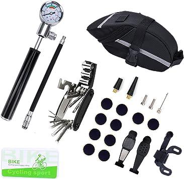 Kit de Reparación de Bicicletas, Reparación de Bicicletas Kit Incluyendo Bomba de Bicicleta Mini con Manómetro de Alta Presión de 210 PSI (Negro): Amazon.es: Deportes y aire libre