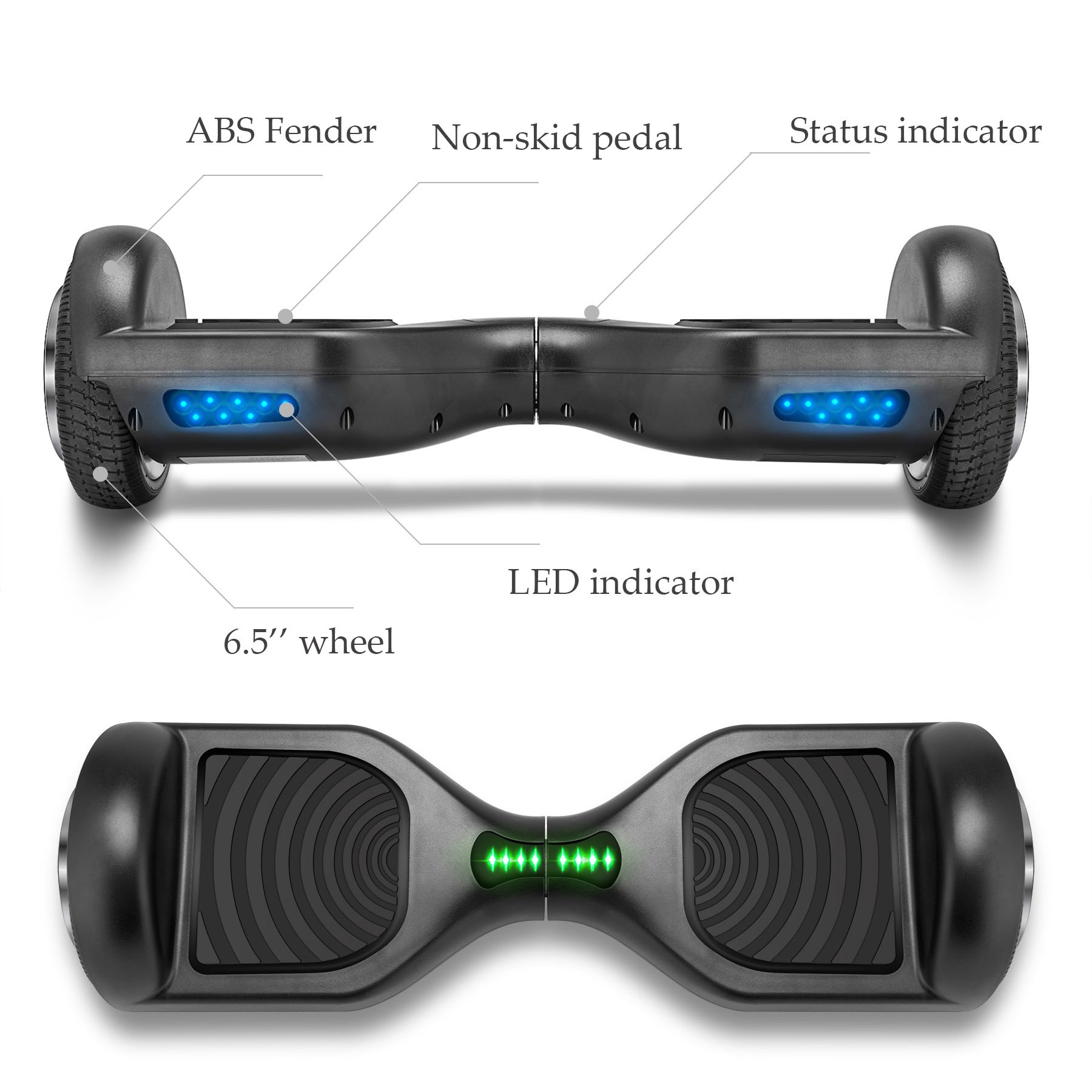 VEEKO Self Balancing Scooter Black Hoverboard with LED Indicator Lights, 350W Dual Motor, UL 2272/2271 Certificate, Alloy Durable Wheels by VEEKO (Image #3)