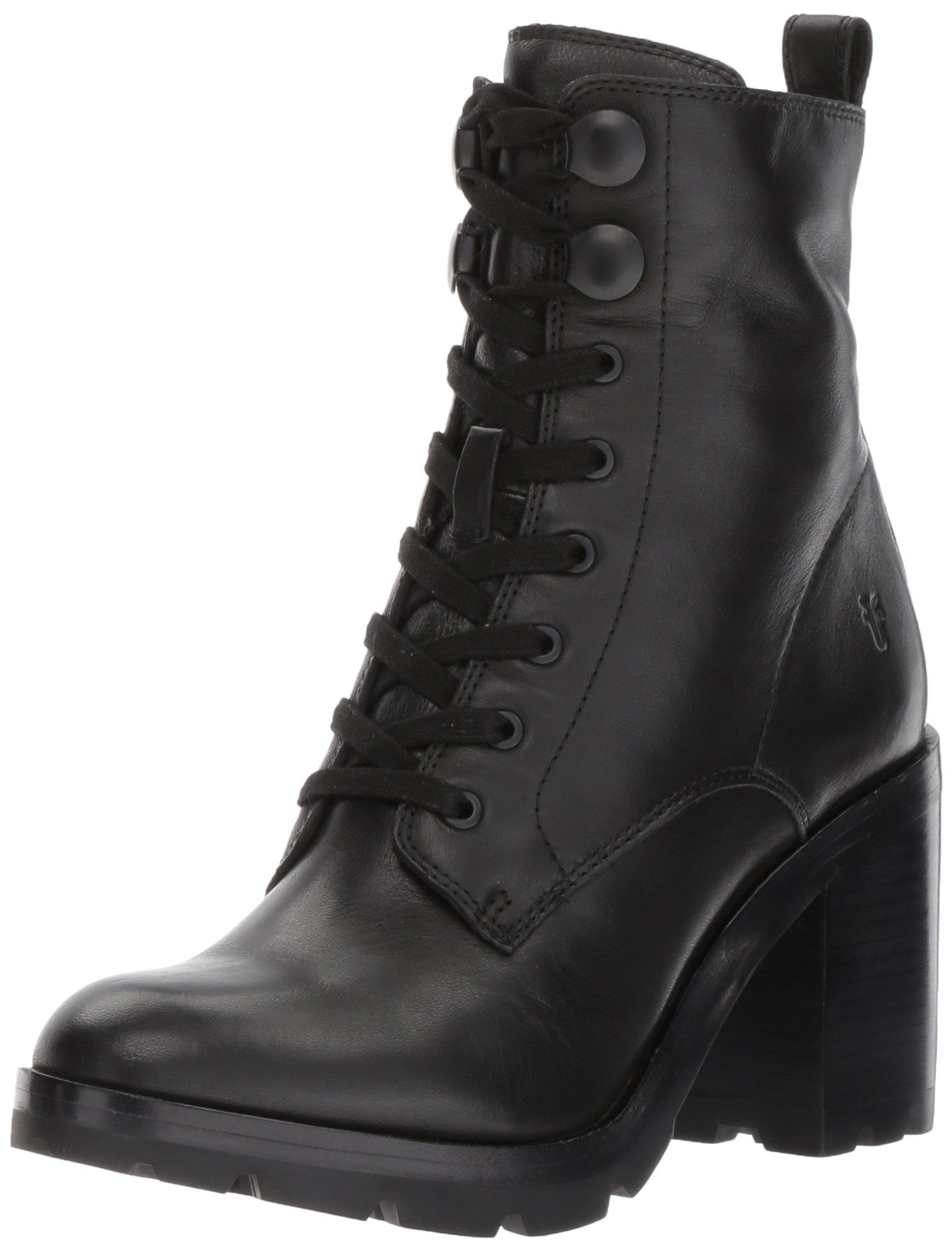 FRYE Women's Myra Lug Combat Boot, Black Polished Soft Full Grain, 6 M US