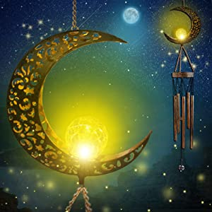 ROSRAN Moon Wind Chimes LED Solar Wind Chimes Outside Moon Garden Decor Outdoor Windchimes Night Light Deep Tone Memorial Wind Bell Gift Mom Gifts for Women Grandma Birthday Gift