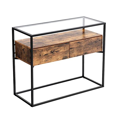 Outstanding Vasagle Industrial Console Table Tempered Glass Table With 2 Drawers And Rustic Shelf Decoration Sideboard In Hallway Lounge Or Foyer Stable Iron Gamerscity Chair Design For Home Gamerscityorg