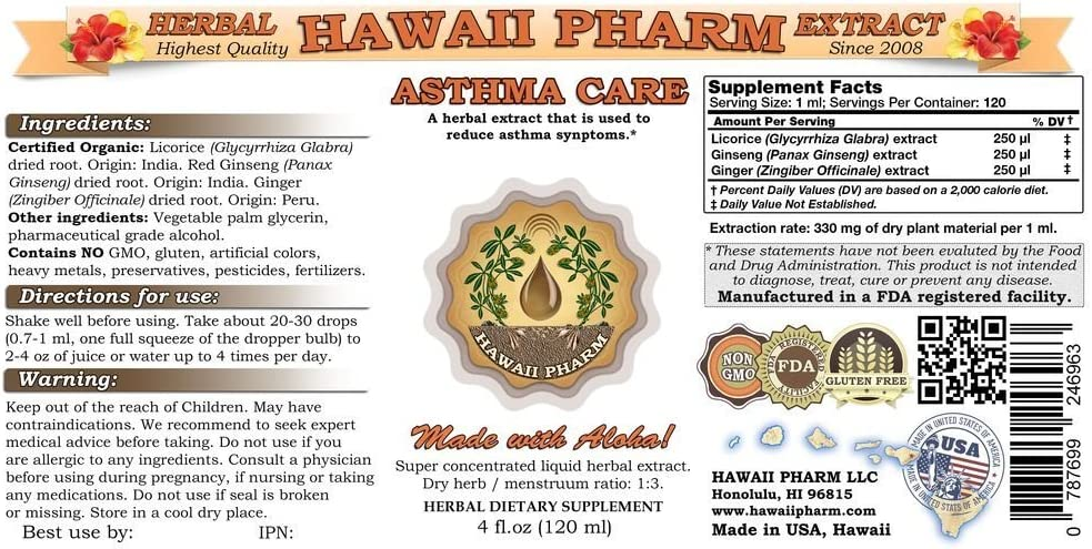Asthma Care Liquid Extract, Licorice Glycyrrhiza Glabra Root, Red Ginseng Panax Ginseng Root, Ginger Zingiber Officinale Root Tincture Supplement 2×4 oz