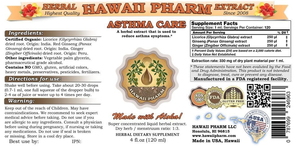 Asthma Care Liquid Extract, Licorice (Glycyrrhiza Glabra) Root, Red Ginseng (Panax Ginseng) Root, Ginger (Zingiber Officinale) Root Tincture Supplement 2x4 oz by Hawaii Pharm LLC (Image #2)