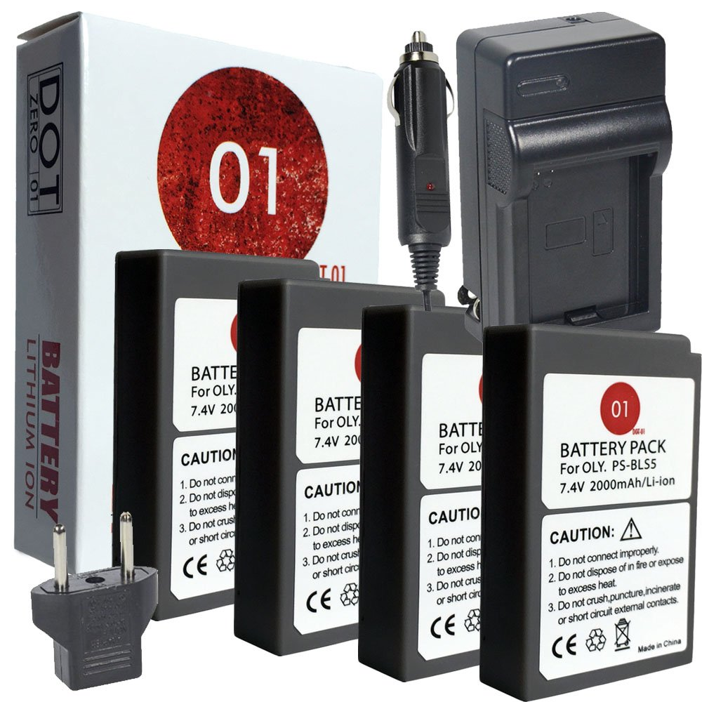 DOT-01 4x Brand Olympus PEN E-PL9 Batteries and Charger for Olympus PEN E-PL9 Mirrorless and Olympus E-PL9 Battery and Charger Bundle for Olympus BLS50 BLS-50