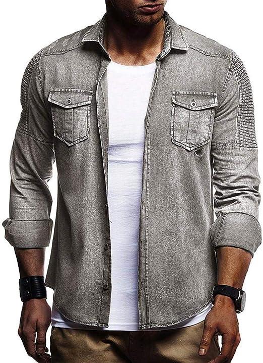 yuny Oud Hombres Casual Slim Fit Button Camiseta con bolsillo langarms hirts Blusa tailliertes Camisa Hombres Negro Lunares Blancos blanca de manga corta Hombre Negro Slim Fit: Amazon.es: Jardín