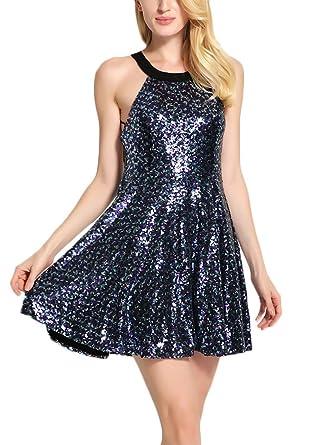 Damen Sommer Slim Fit Kleider Minikleid Pailletten A Linie Kleid