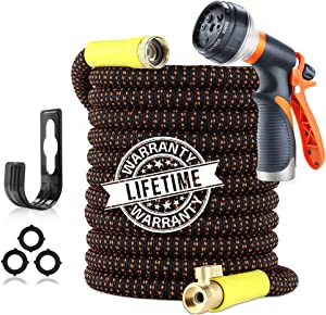 Garden Hose 100ft Expandable and Flexible Water Hose - Superior Strength 3750D Fabric   4-Layers Latex   Extra-Strong Brass Connectors   8-Way Durable Water Spray Nozzle with Pocket Protectors