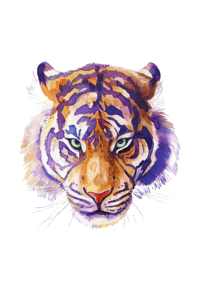 Tiger Home Wall Shelf Decor Animal Decorations Watercolor Large Sign - Inch, Metal, 12x18