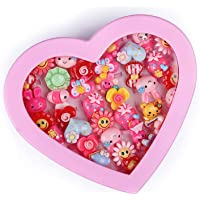Aizelx Kids Girls Cartoon Fancy Finger Rings for Birthday Gifts Comes in Pink Heart Shape Box .Suitable for Age 2- 10 yrs.