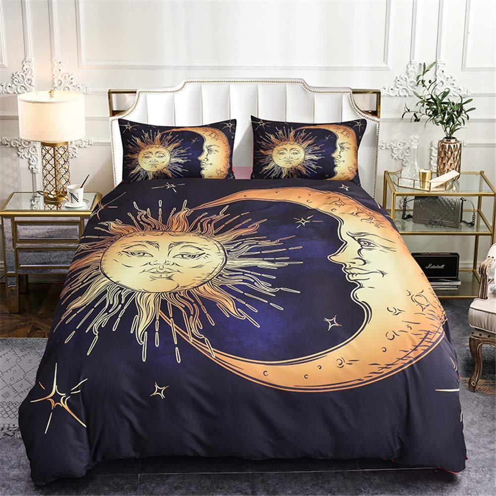 """WURUIBO Boho Bedding Cover Set for Kids Queen, Sun and Moon Pattern Soft Microfiber Includes 1 Duvet Cover with Zipper Ties and 2 Pillow Covers, 90"""" 90"""""""