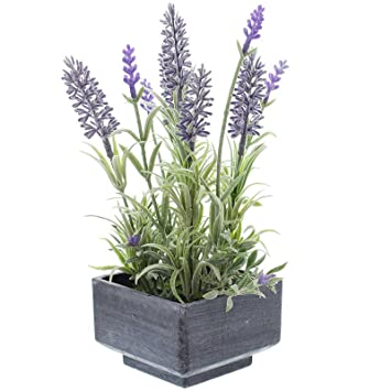 Amazon De Sidco Deko Lavendel Topf Kunstpflanze Kunstliche Blume