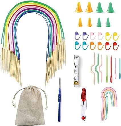 18Sizes Tube Circular Bamboo Weave Knitting Needles Set 2.0mm-10.0mm  40-120cm