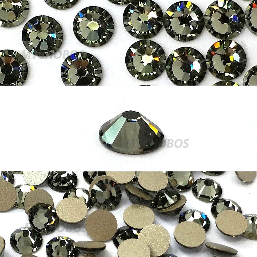 スワロフスキー XILION Rose Enhanced ラインストーン (2058) SS9 - ブラックダイアモンド (215) 裏面プラチナフォイル x 144粒 B00F6ORCYC