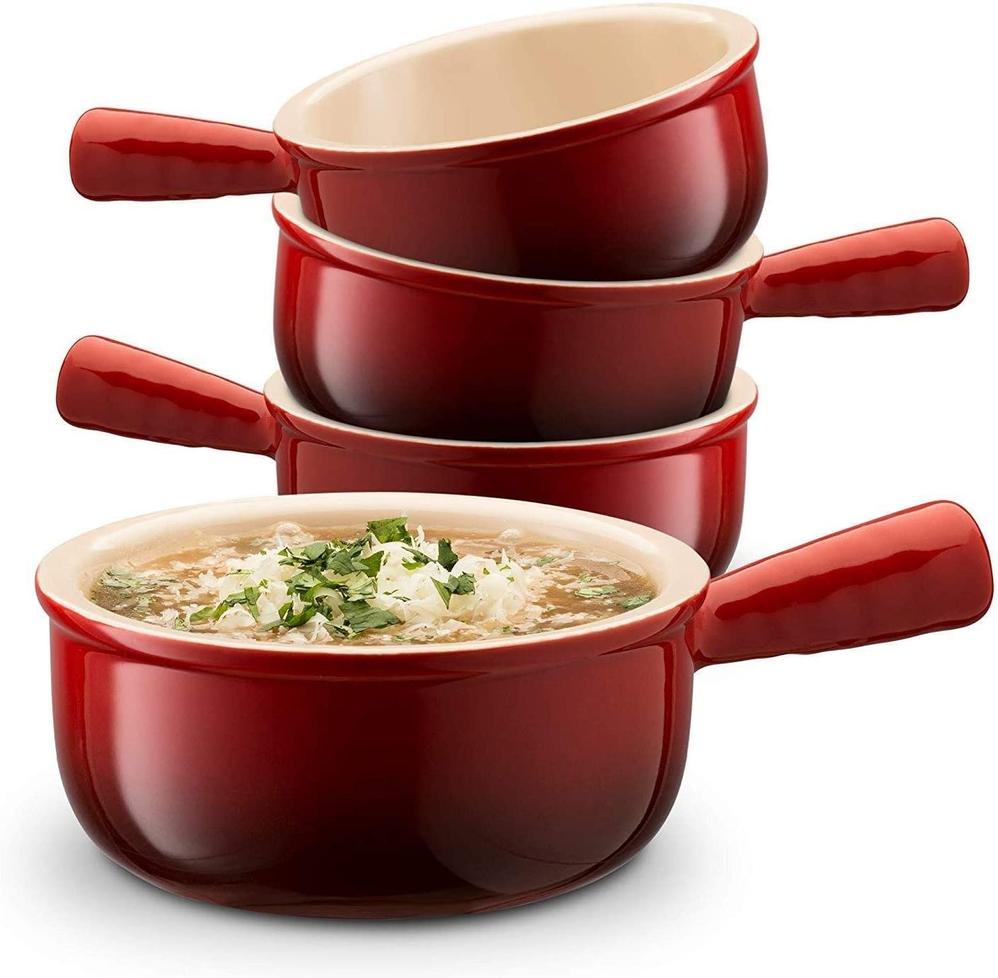 Set of 4 Hotel tableware home noodles boiled fish soup bowl 12 Ounce Bowl Ceramic French Onion Soup Bowls with Handles