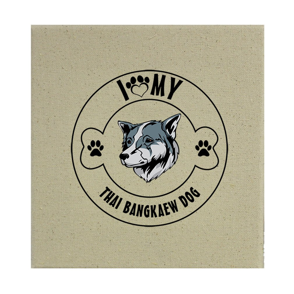Style in Print Stretched Natural Canvas I Love Paw My Thai Bangkaew Dogdog 8''X8'' by Style in Print