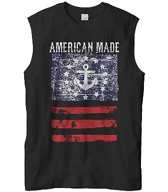 958b5eec44550b Cybertela Men s American Made Faded Anchor Flag Sleeveless T-Shirt (Black