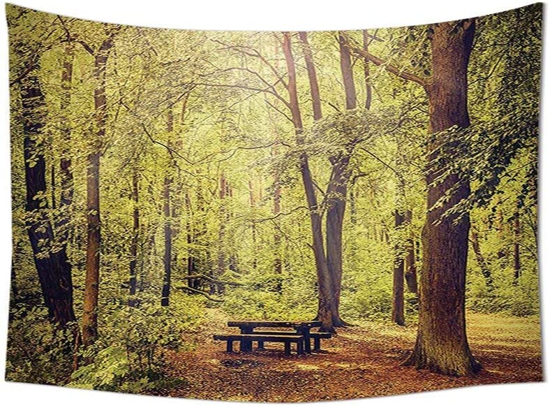 LZHsunni88 Farm House Decor Tapestry Wall Hanging Picnic Table in The Forest Foliage Green Decor Nature Theme Summer and Winter Theme Bedroom Living Room Dorm Decor Green Brown