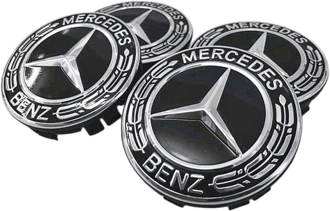 Sparkle-um 9-Piece Set 75mm Mercedes Benz Emblem Badge Wheel Hub Caps Centre Cover Tire Valve Stem Caps Cover with Mercedes Keychain for Mercedes Benz. Red