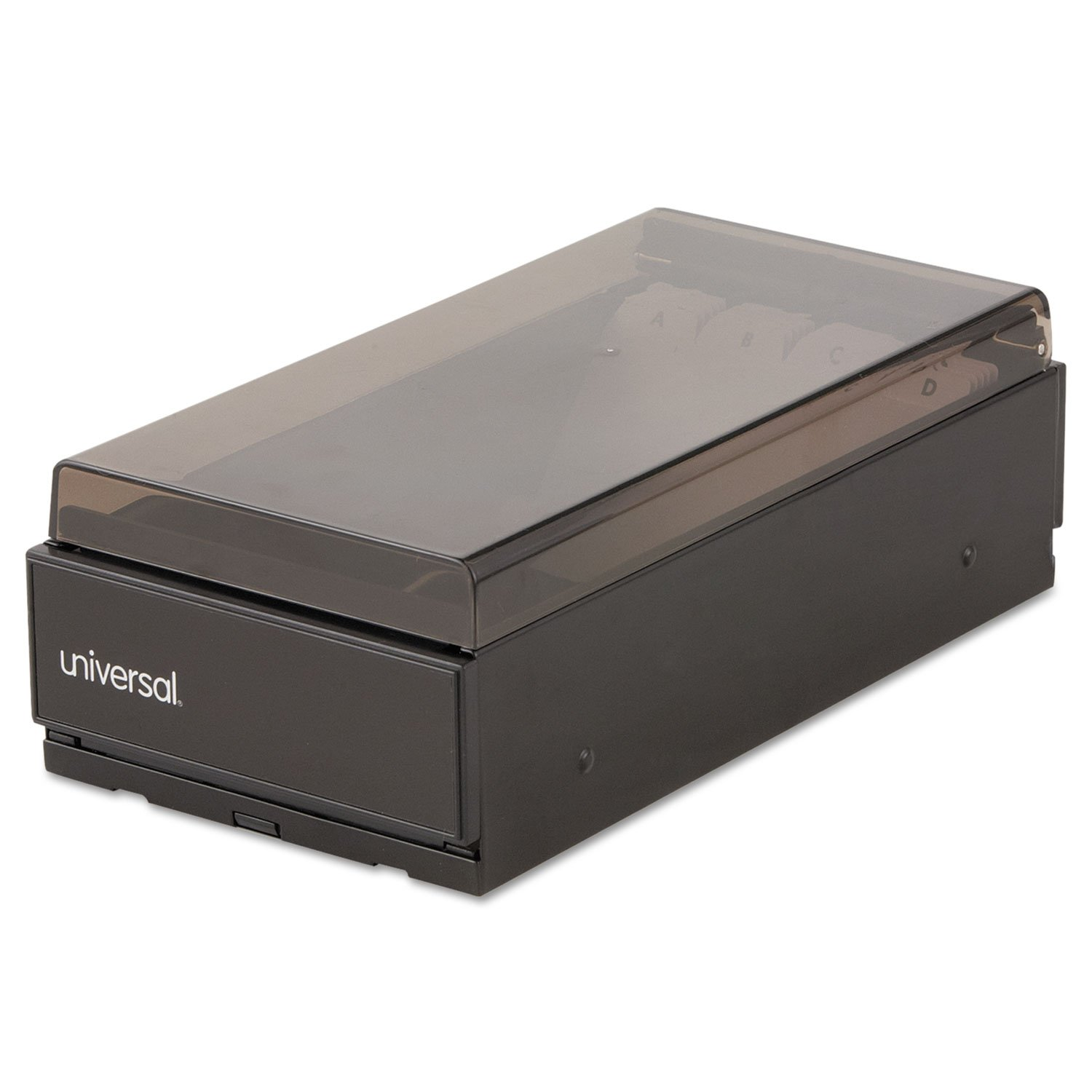 Universal 10601 Business Card File, Metal/Plastic, 4 1/4 x 8 1/4 x 2 1/2, Black
