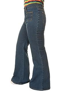 96fa927eb42 Run   Fly LADIES WOMENS RETRO 60 s 70 s DISCO NEW VINTAGE BLUE STRETCH DENIM  WIDE LEG