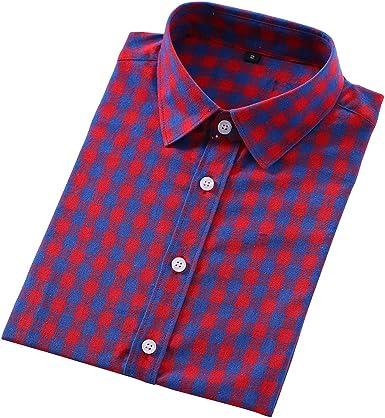 MEYINI Blusa Casual para Mujer - Camisas de Manga Larga de algodón a Cuadros clásico Botón Arriba Slim Fit Primavera Otoño Tallas Grandes: Amazon.es: Ropa y accesorios