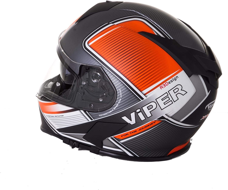 S Viper Rs-V11 XPace Moto Casco Mate Naranja Bici Integral Casco Carreras Visera Doble Hombres Mujeres Ece Homologado Deportes Pinlock Listo