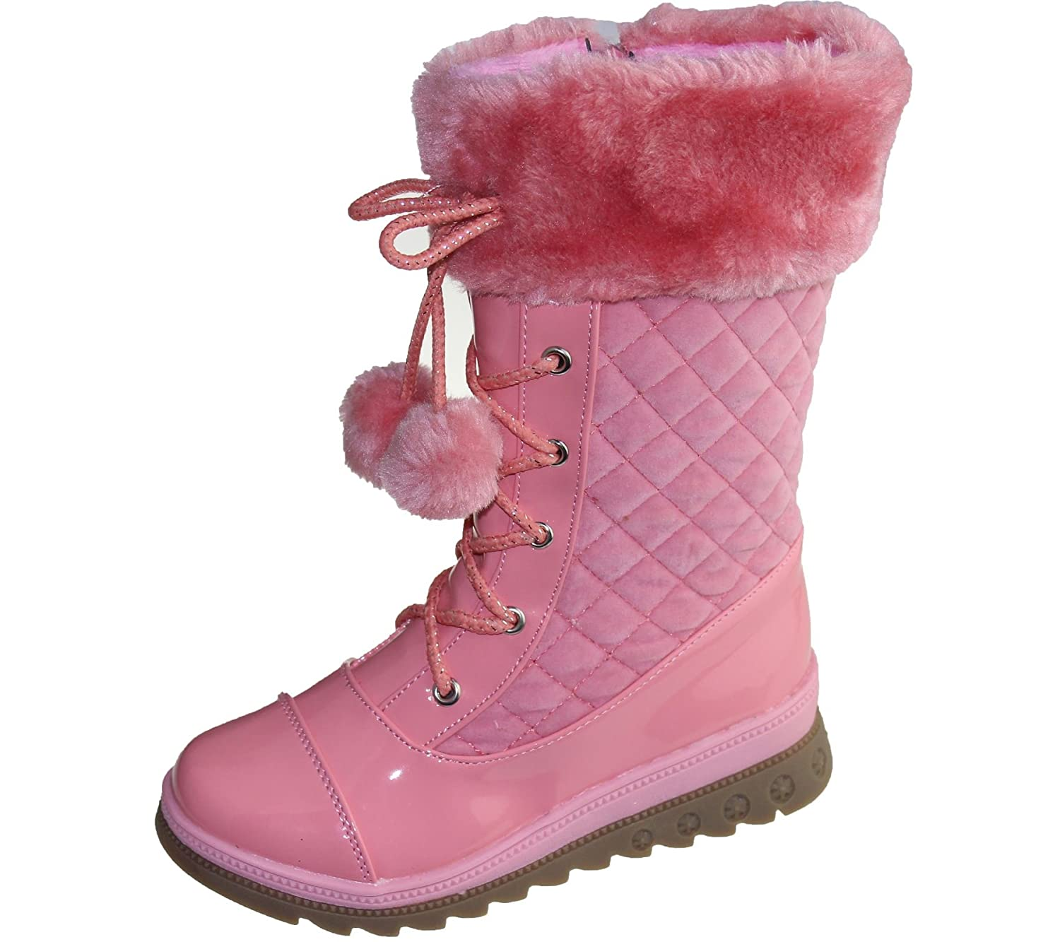 KOLLACHE Girls Warm Linned Boots Pom Pom Winter Christmas High Top Quilted Ankle Shoes Size
