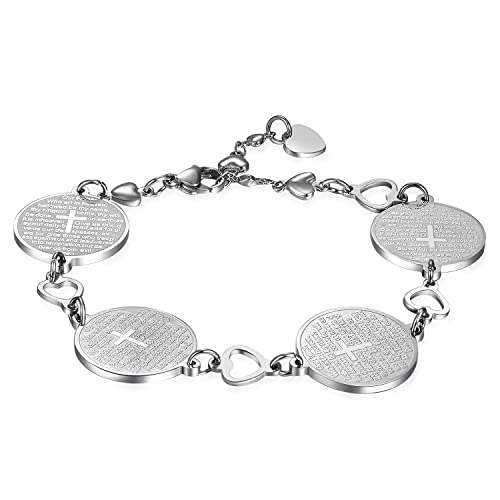 9954c3082c77 JewelryWe Schmuck Damen Armband, Englisch Bibel Gebet Kreuz religiös Design  Runde Armkette Armreif, Edelstahl, Silber  Amazon.de  Schmuck