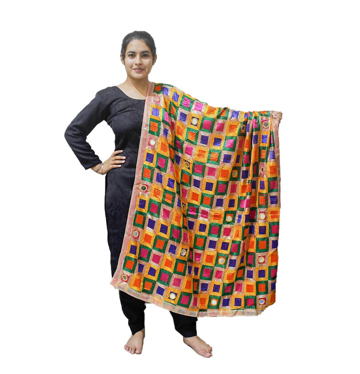 Sahej Suits Multi Coloured Phulkari Bagh with Mirror Work