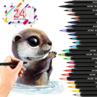 24 Watercolor Paint Brush Pens - Markers for Water Color Calligraphy Lettering and Drawing - Flexible Real Brush Tips - Gorgeous Pen Color Set