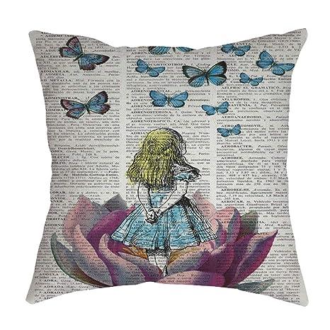 Auied Funda de Almohada de Lino y algodón con diseño de ...