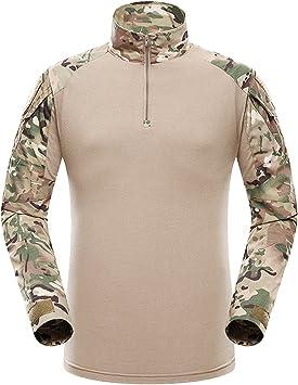QMFIVE Táctico Camisa, Hombres Airsoft Militar Camuflaje Combate ...