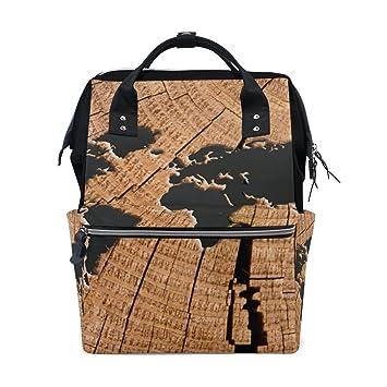 BENNIGIRY - Mochila con diseño de mapa del mundo antiguo, gran capacidad, para viajes, bolsas de pañales, organizador multifunción para bebé: Amazon.es: ...