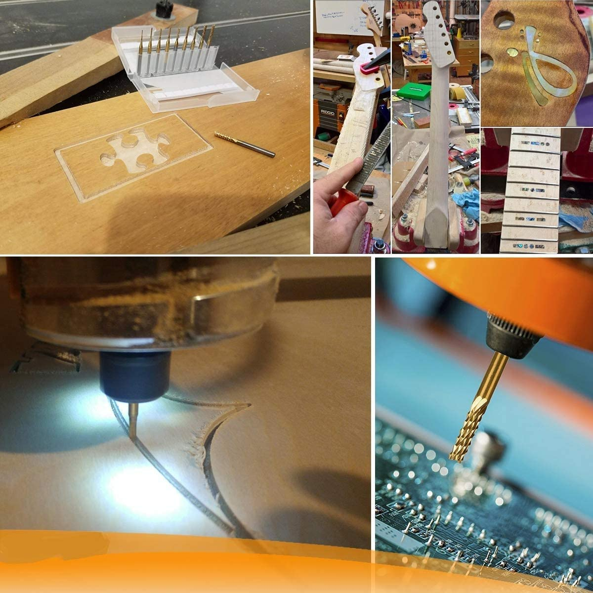 1.0 mm ElecMotive 10 Pcs Titane Fraise au Carbure Carbone Enduit CNC PCB Gravure Rotatives Fraises