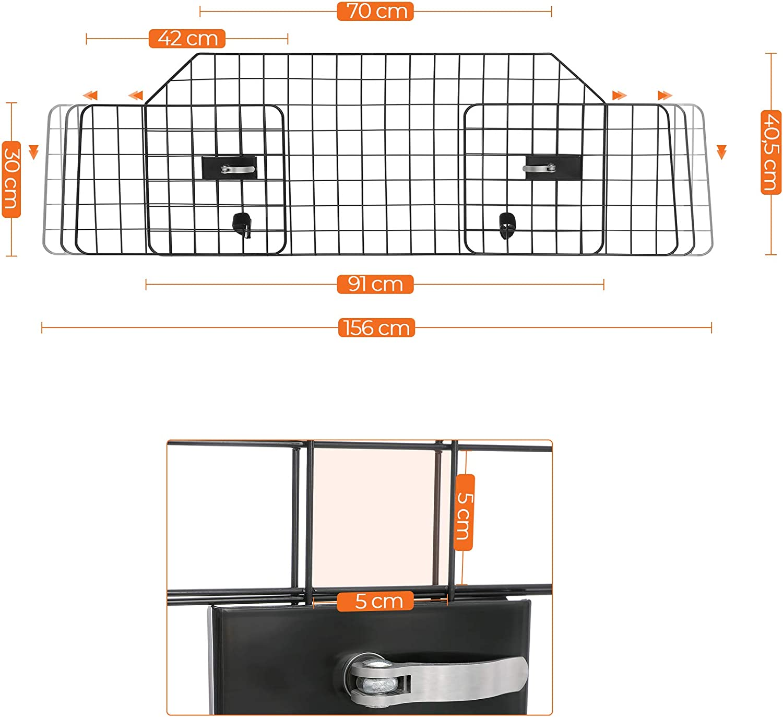 FEANDREA Grille de s/éparation Voiture pour Chien Noir PDB001B01