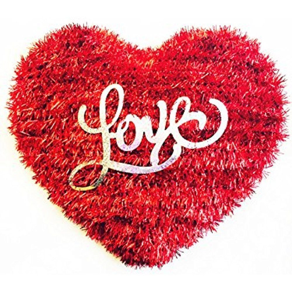 Valentine's Day Banners & Garlands Red Tinsel ''Love'' Heart Decoration