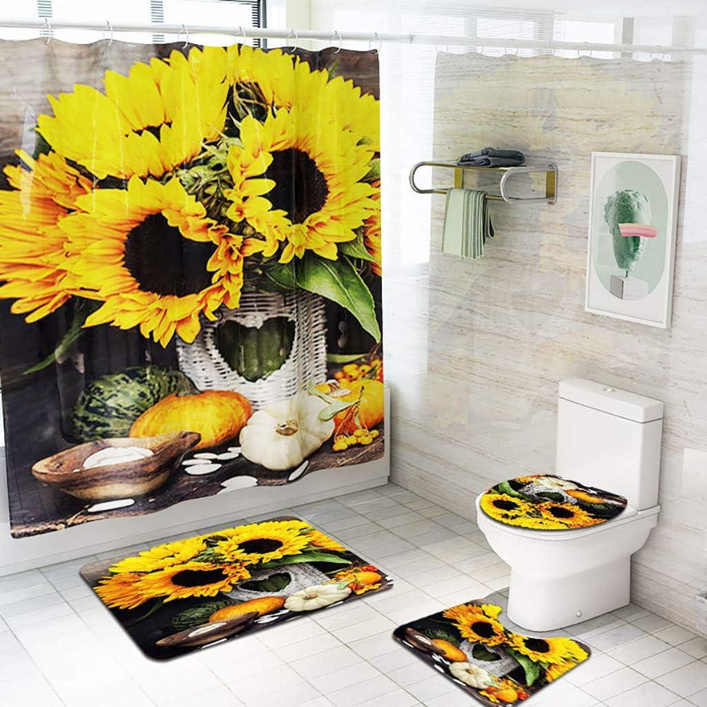 Quaanti 4 Pieces Sunflower Decor Bath Mat Set Shower Curtain Set Floral  Flower Decorative Bathroom Mat + Contour Mat + Toilet Cover + Shower  Curtain +