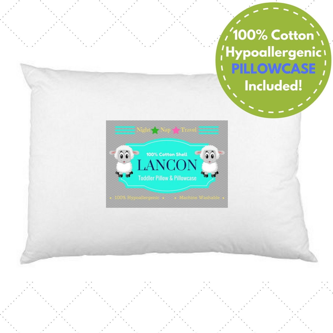 Toddler Pillow with Pillowcase by LANCON Kids - White 13 x 18, 100% Cotton, Premium Quality, Soft Hypoallergenic & Machine Washable. Perfect Small Pillow for Kids Age 2+ by LANCON Kids
