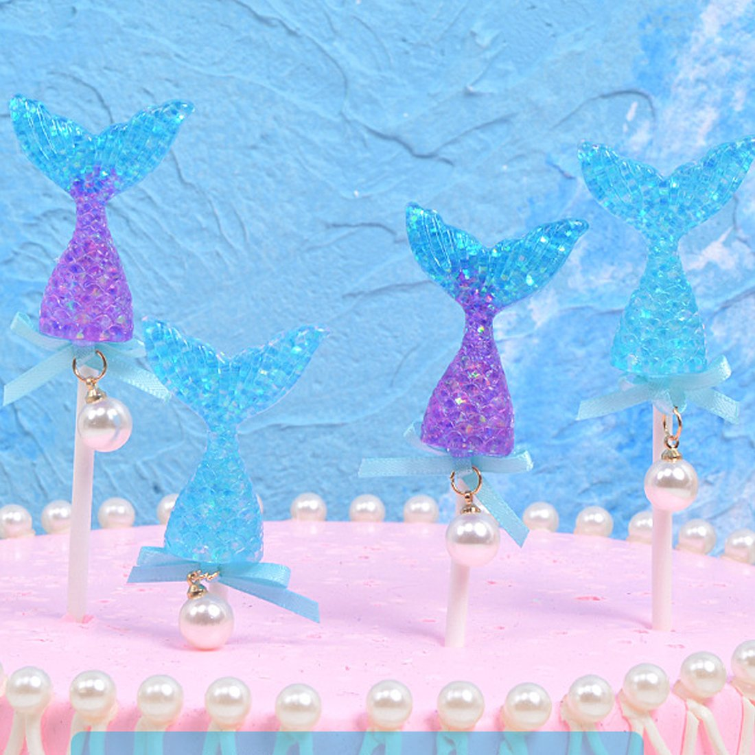 CShopping 10Pack Glitter Colorful Mermaid Tail Cake Topper, Reusable Sequin Mermaid Cake Decoration for Birthday Party, Sea Theme Party, Baby Shower and Wedding by CShopping (Image #3)