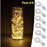 SEEOU 6 PCS Fairy Lights LED Starry String Lights with 20 Micro LEDs on 3.3FT/1m Copper Wire, Powered by 2xCR2032(Incl) Batteries, for Wedding Party Holiday Halloween Christmas Decorations, Warm White
