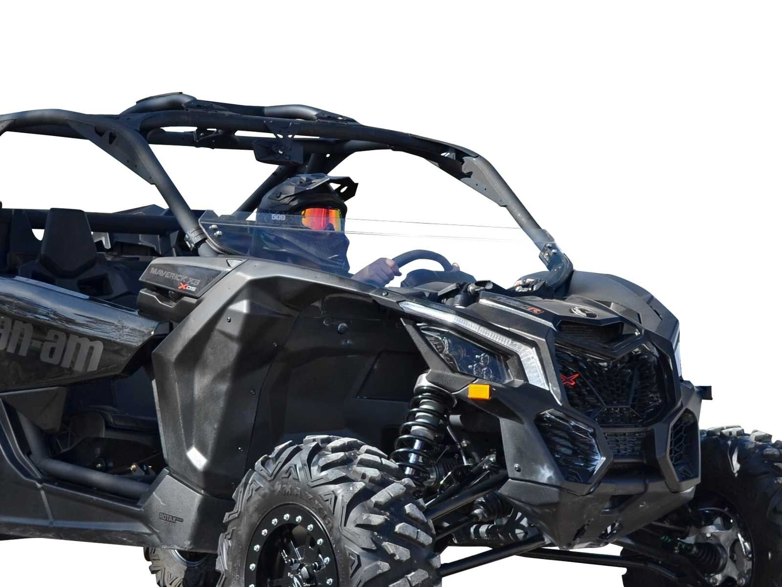 SuperATV Can-Am Maverick X3 900/Turbo/X RC/X RS/X DS/X MR/MAX Heavy Duty Half Windshield (2017+) - Clear Standard Polycarbonate