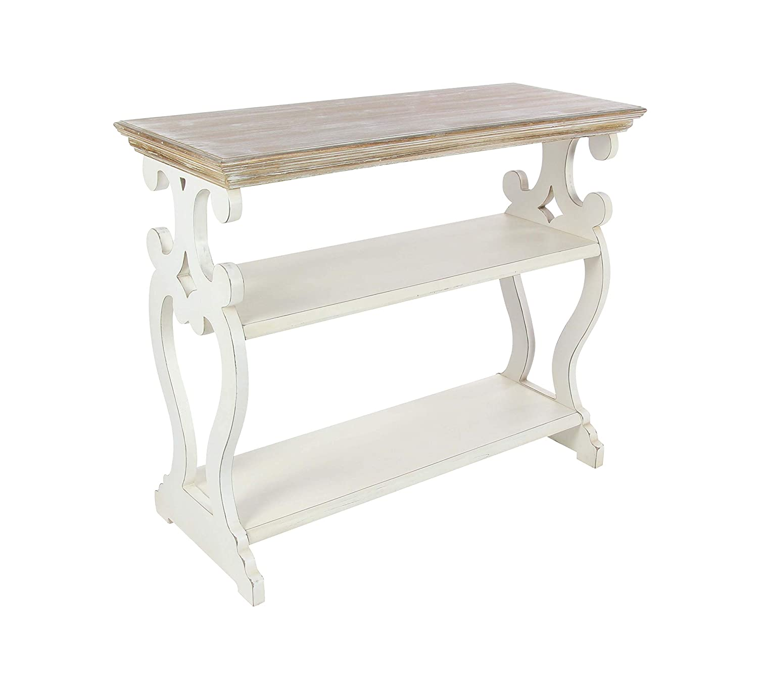 """Deco 79 Wood Table 32"""" x 38"""" Brown, White"""