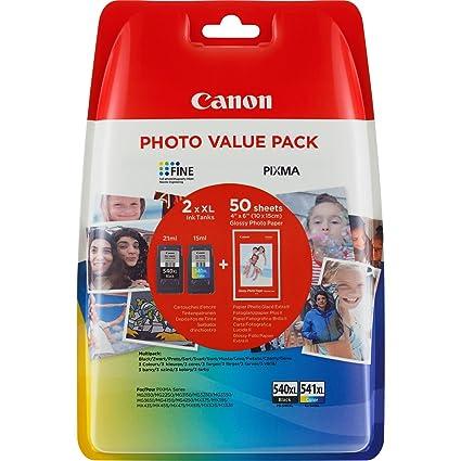Canon PG-540XL+CL-541XL Cartuchos de tinta BK+Tricolor XL para Impresora de Inyeccion Pixma TS5150,5051-MX375,395,435,455,475,515,525,535-MG2150,2250,...