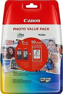 Canon PG-540XL+CL-541XL Cartuchos de tinta BK+Tricolor XL para Impresora de Inyeccion Pixma TS5150,5051-MX375,395,435,455,475,515,525,535-MG2150,2250,3150,3250,3550,3650,4150,4250
