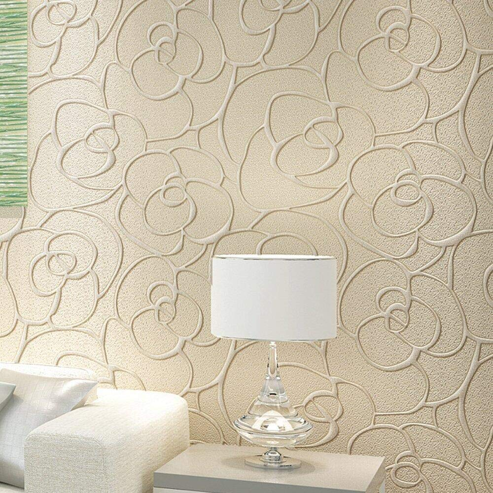 =5.3m2 KeTian Modern Minimalist 3D Rose Flower Non-Woven Deep Embossed Textured Living Room Bedroom Wallpaper Roll Light Blue 0.53m 57 sq.ft 1.73 W 32.8L x 10m