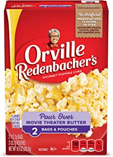 product image for Orville Redenbacher's Gourmet Popping Corn, Pour Over Movie Theater Butter, 3.78 Ounce Bag/1.17 Ounce Pouch, 2-Count, Pack of 12
