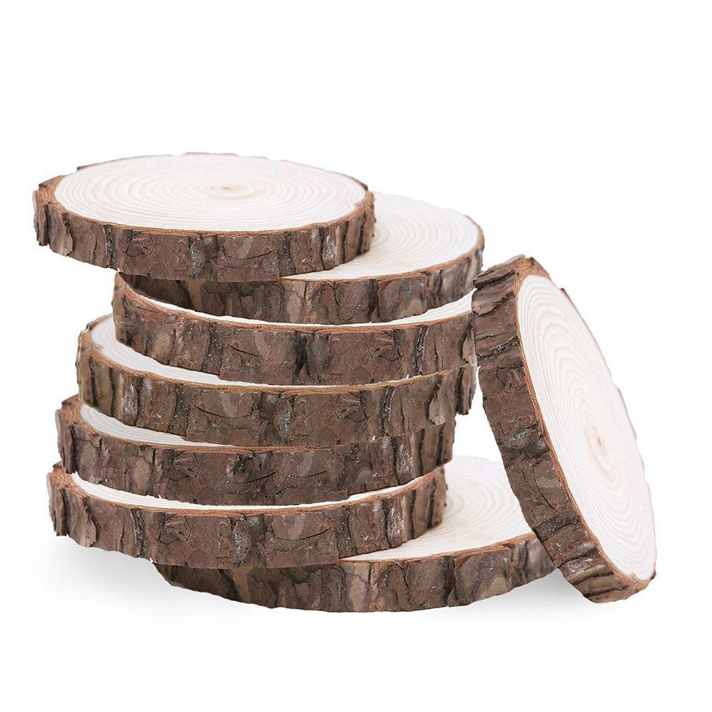 Ounona 20pcs Bois tranches Disques en bois rond DIY Craft Décoration Table 10–12cm