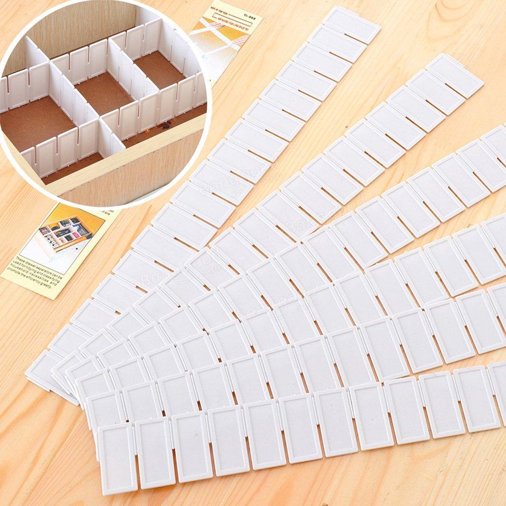 6 separadores de cajones de plástico para rejilla y cajón ajustables, divisor de almacenamiento para el hogar, para ordenar el hogar, calcetines, ropa interior, maquillaje 43x5cm/16.93inchx1.96inch blanco MOOUK